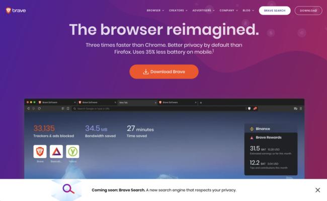Brave Browser website screenshot